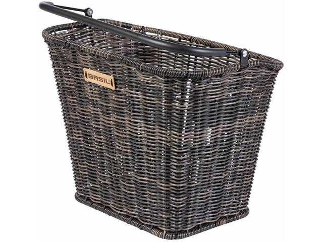 Basil Bremen Rattan Look Front Wheel Basket with Klickfix nature brown
